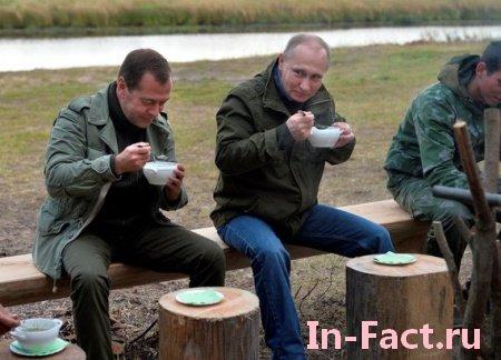 В сети троллят Путина с Медведевым после случайной встречи с рыбаками